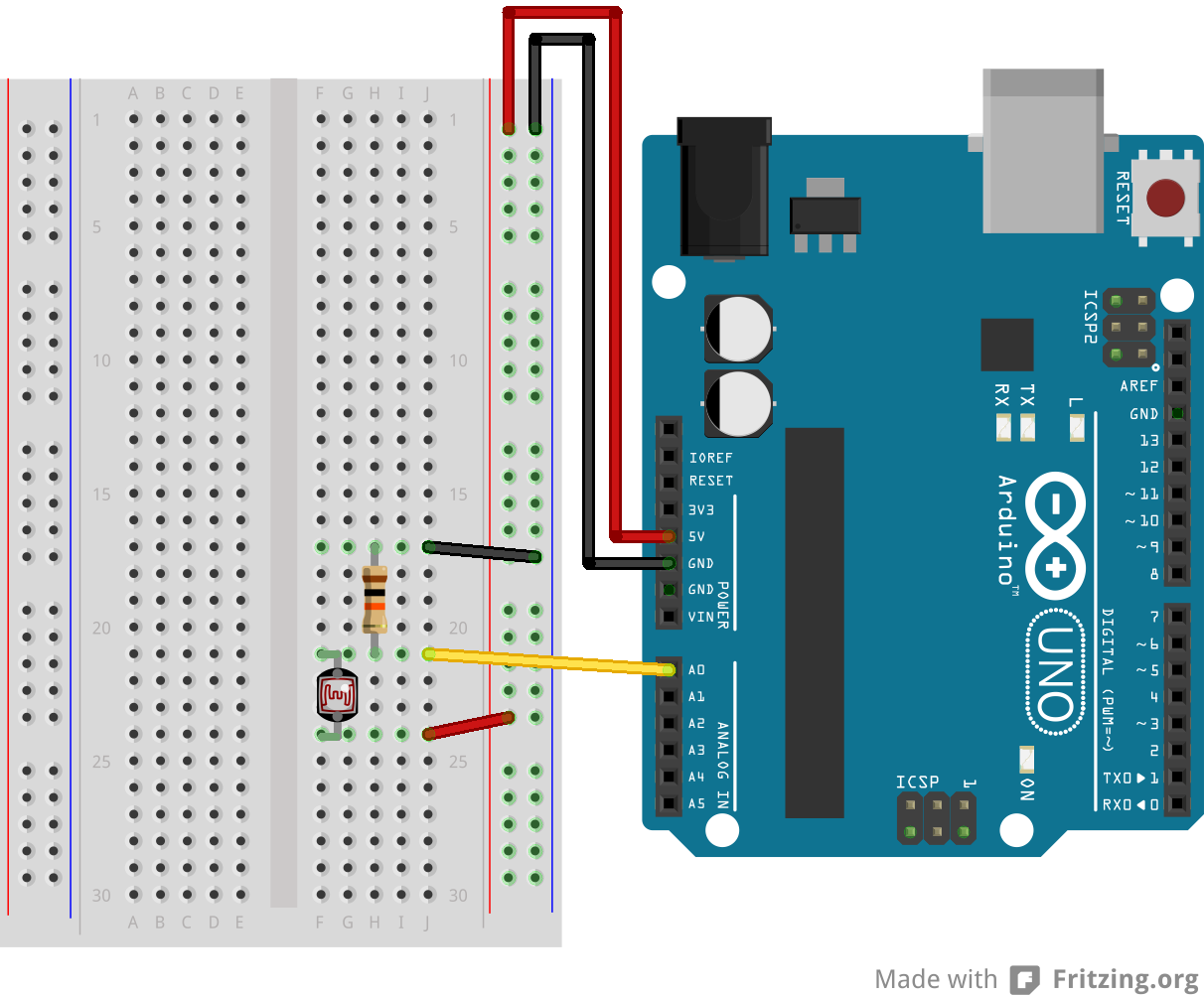Arduino wiring for a photoresistor